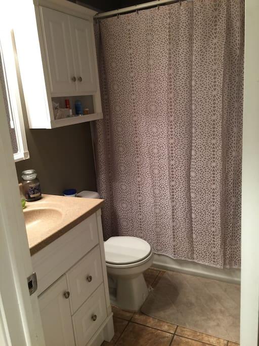 Upstairs bathroom & shower.