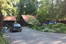 Plenty of parking for one or more cars. The cottage is on the left with guest's car parked outside. Our house on the right, with the 2 cars parked in front.