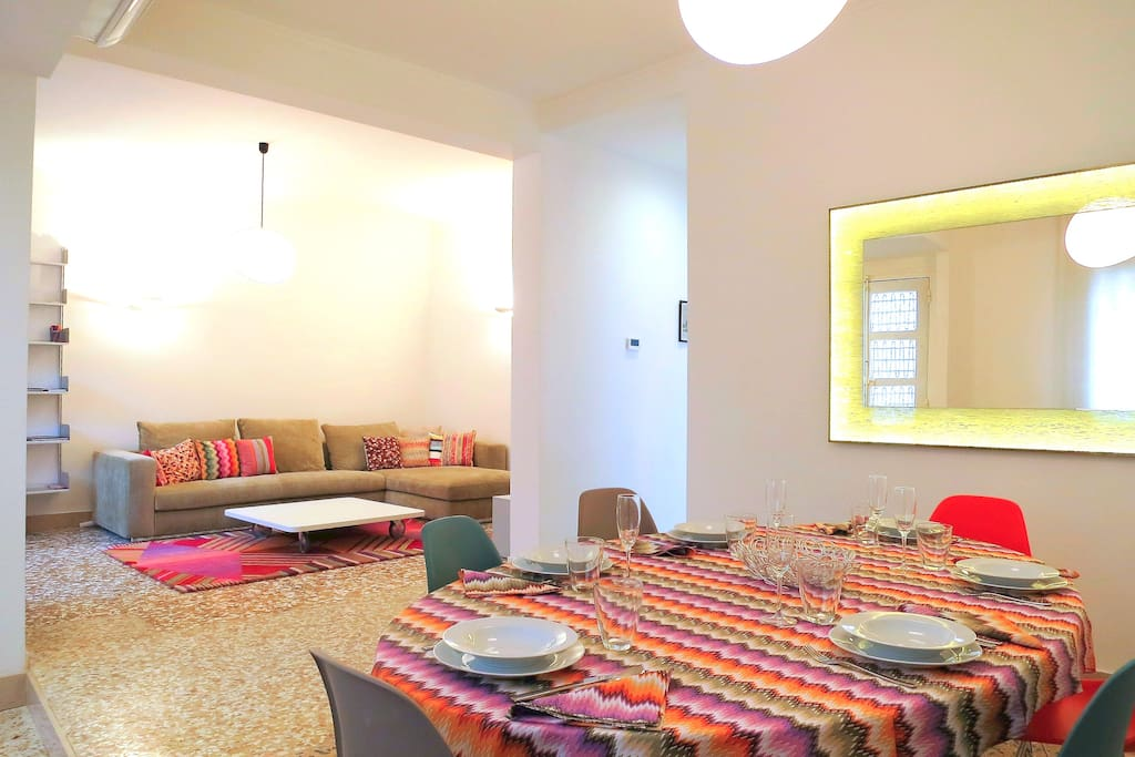 Overview of open living space, modern italian furniture, airconditioned