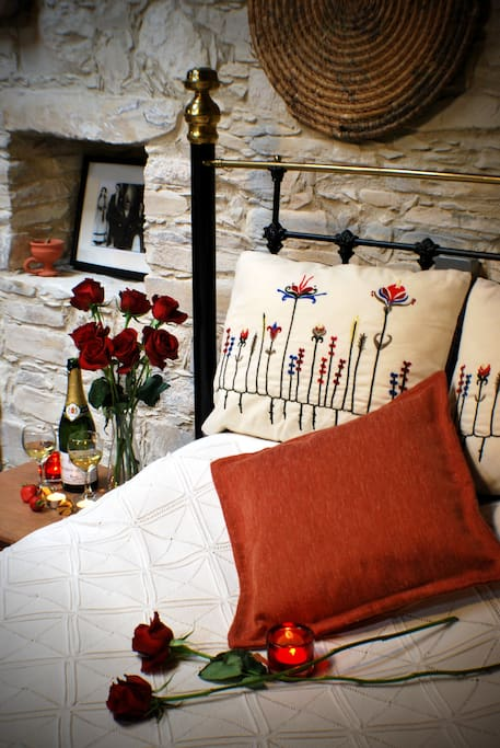 A close-up of the traditional Cypriot bed in this room, provides a romantic setting.