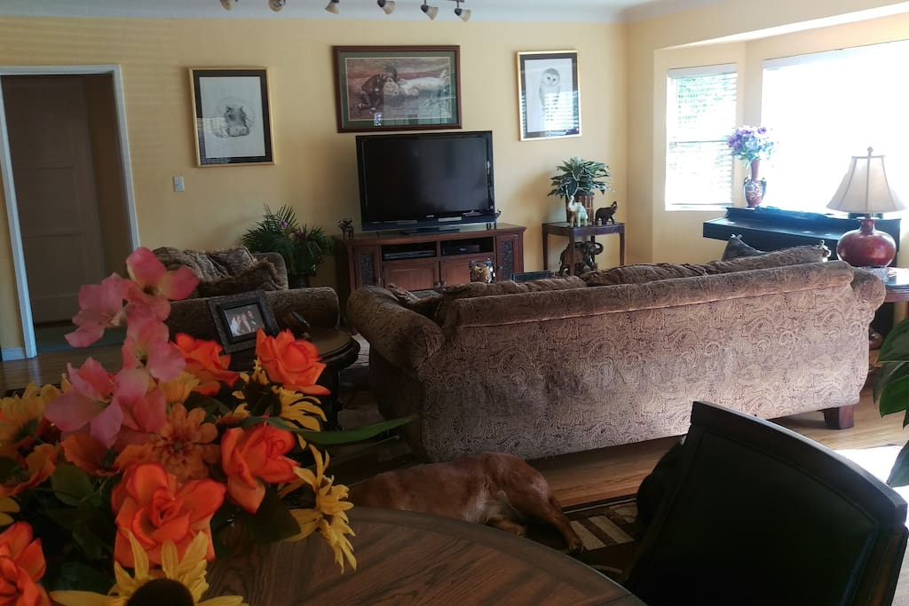 Shared living room with piano large tv with cable and streaming available