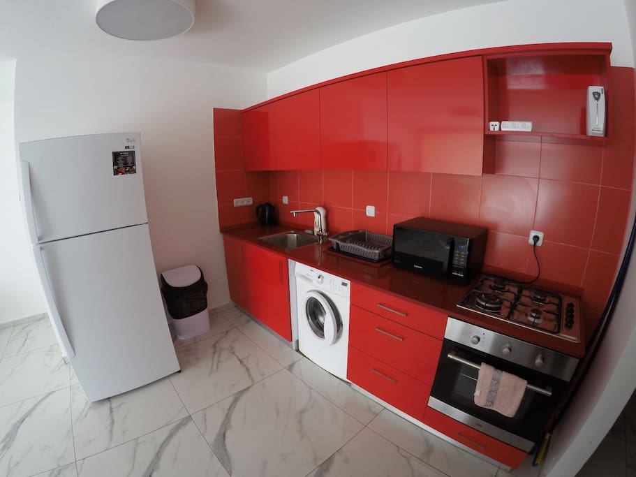 Fully equipped kitchen including a washing machine