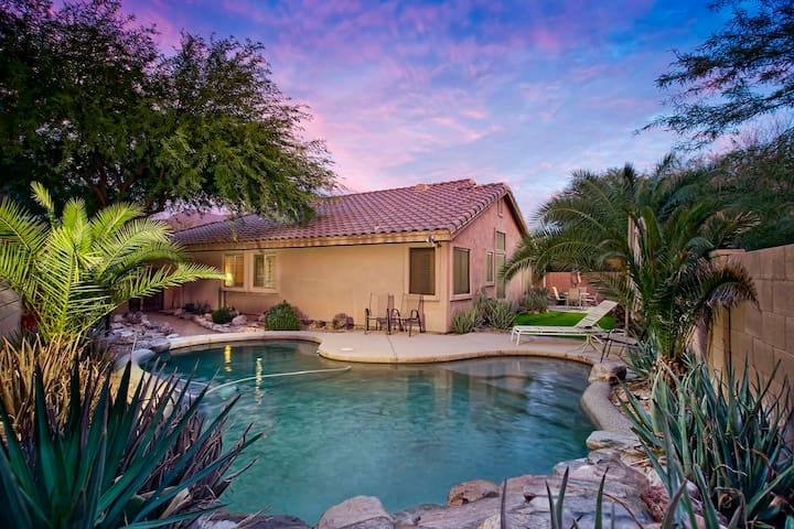 McDowell Mt. Home with backyard oasis pool and waterfall - Pool table - by PADZU