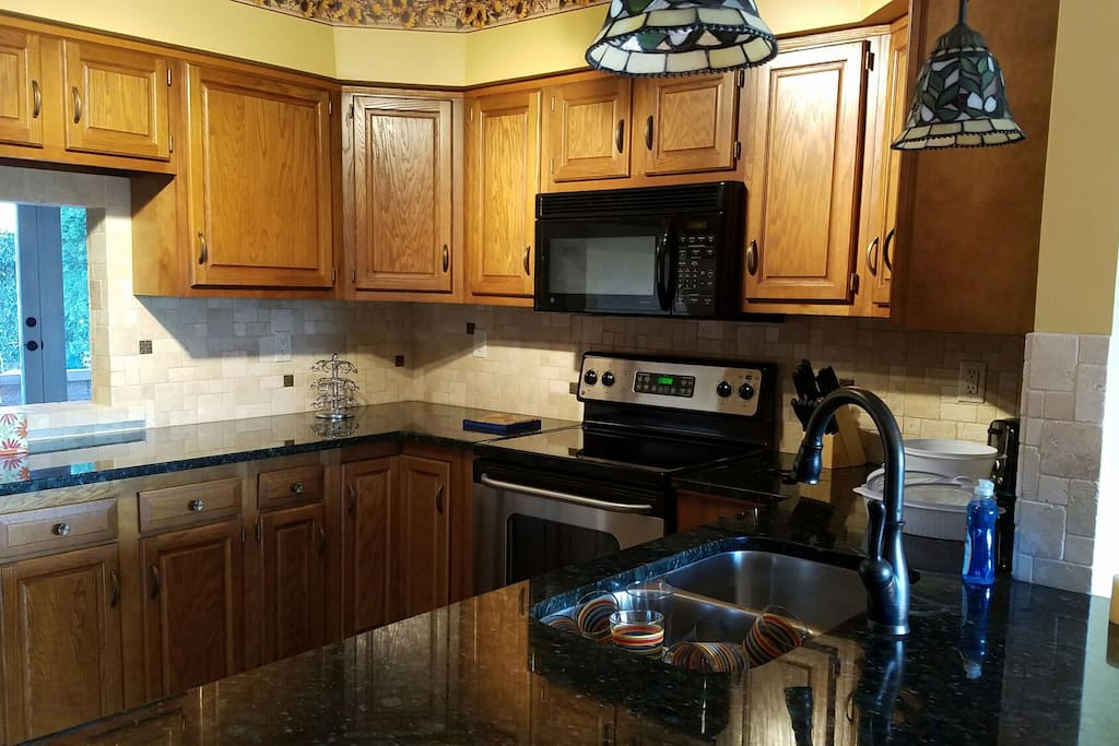 Beautifully appointed kitchen with many upgrades.