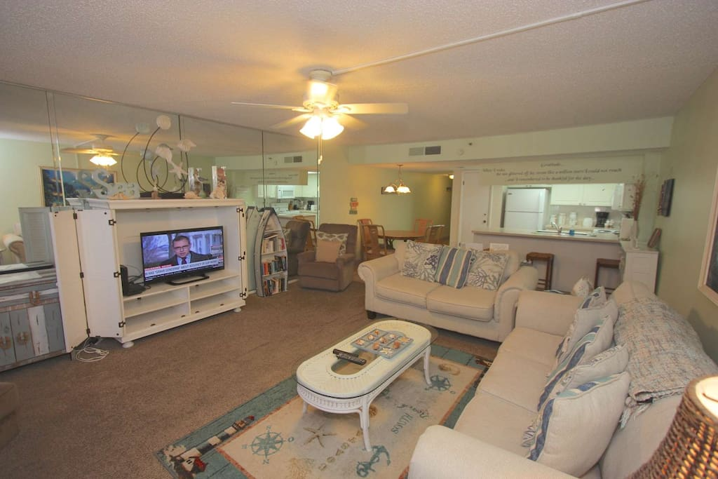 Beautiful Oceanfront View from the Living Area!!!!!! Enjoy a cup of coffee in the morning and take in the Ocean Breeze. Also featuring a Sleeper Sofa