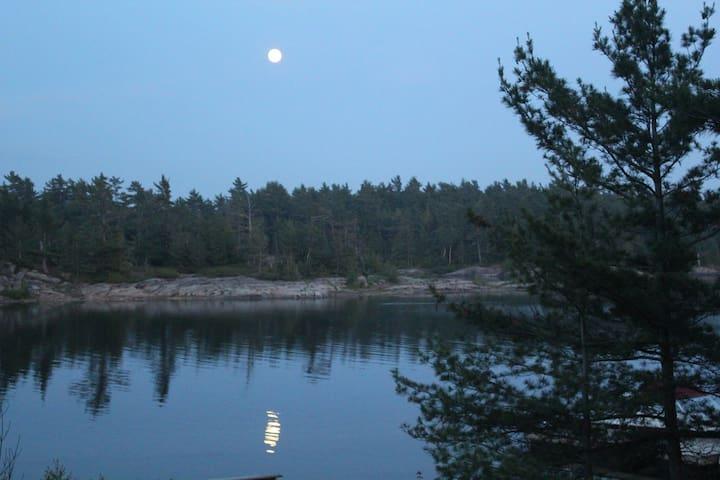 Evening moon-rise