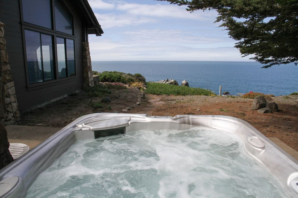 Enjoy a relaxing hot tub with an ocean view