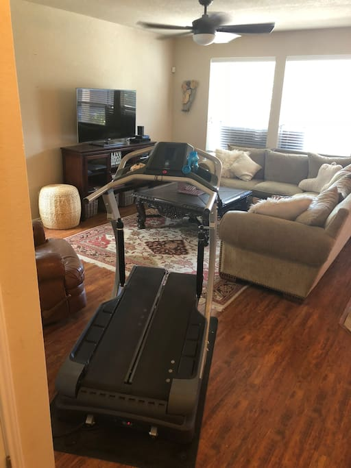 Living room-comfortably seats 6 adults. Use treadclimber at your own risk no kids allowed on machine-must wear appropriate footwear when using workout machine.