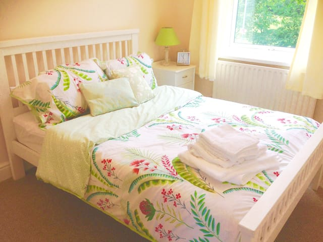 Double bedroom with views of horses fields