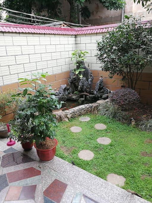 屋前鱼池和草坪