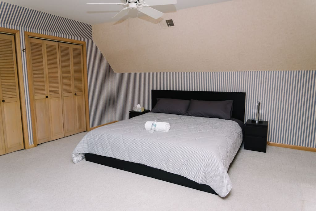 room #4 is located upstairs,King bed and two large closets