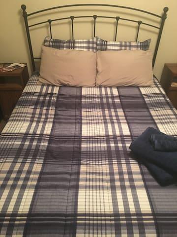 Queen Bed with gel memory foam topper
