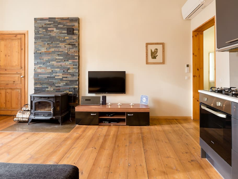 Natural wood floors, nice fireplace and TV
