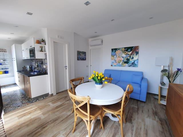 Open space con divano letto e bagno riservato