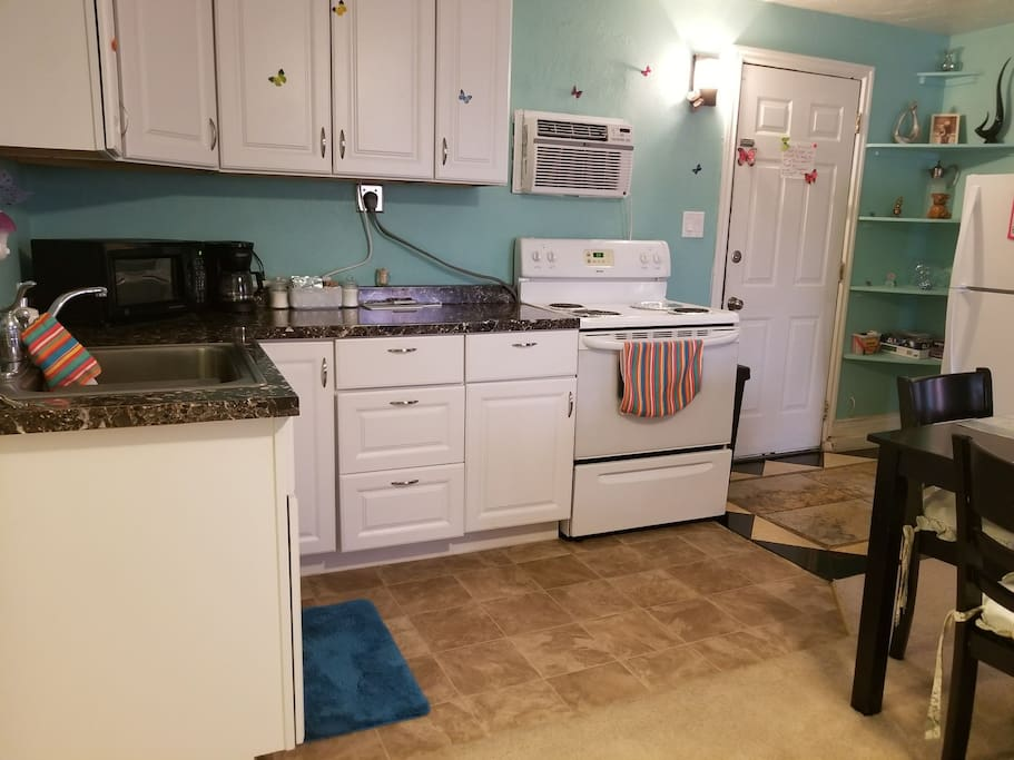 Kitchen with your door entry to your right.