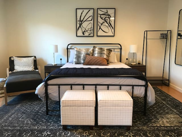 Our Tempur-Pedic, queen size mattress features separate his and hers tri-zone firmness controls. USB ports are built into the night stands. The neighborhood is very quiet and even though we are in town, our lot is over an acre in size.