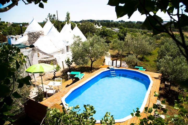 Piscina e solarium nel giardino retrostante - Rear garden solarium and swimming pool - Piscina y solarium en el jardin posterior