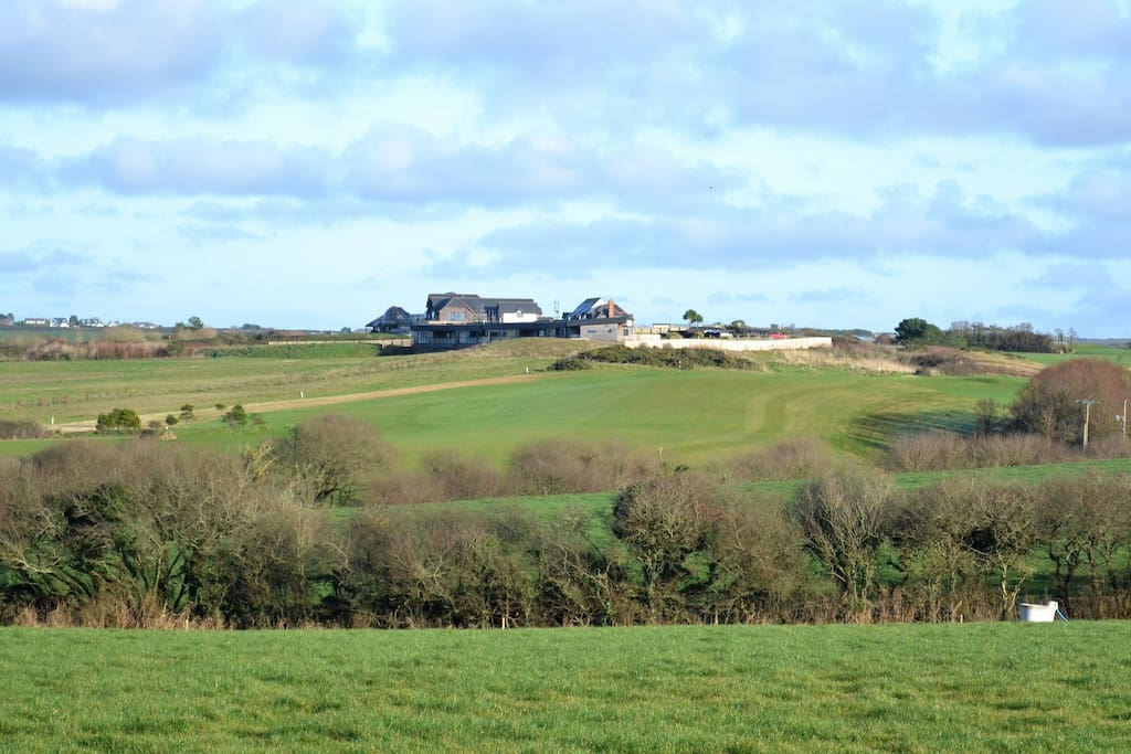 view to the rear of the Point at Polzeath golf club. Just a short walk along a public footpath
