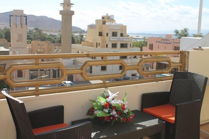 Relax House-2, Aqaba castle view, sea view,Terrac.