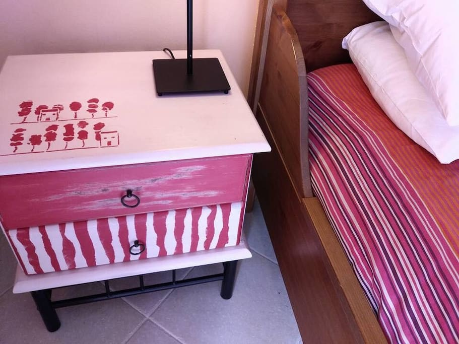Details are important for me and I just want my guests to feel like home! Happy painted bed site tables!
