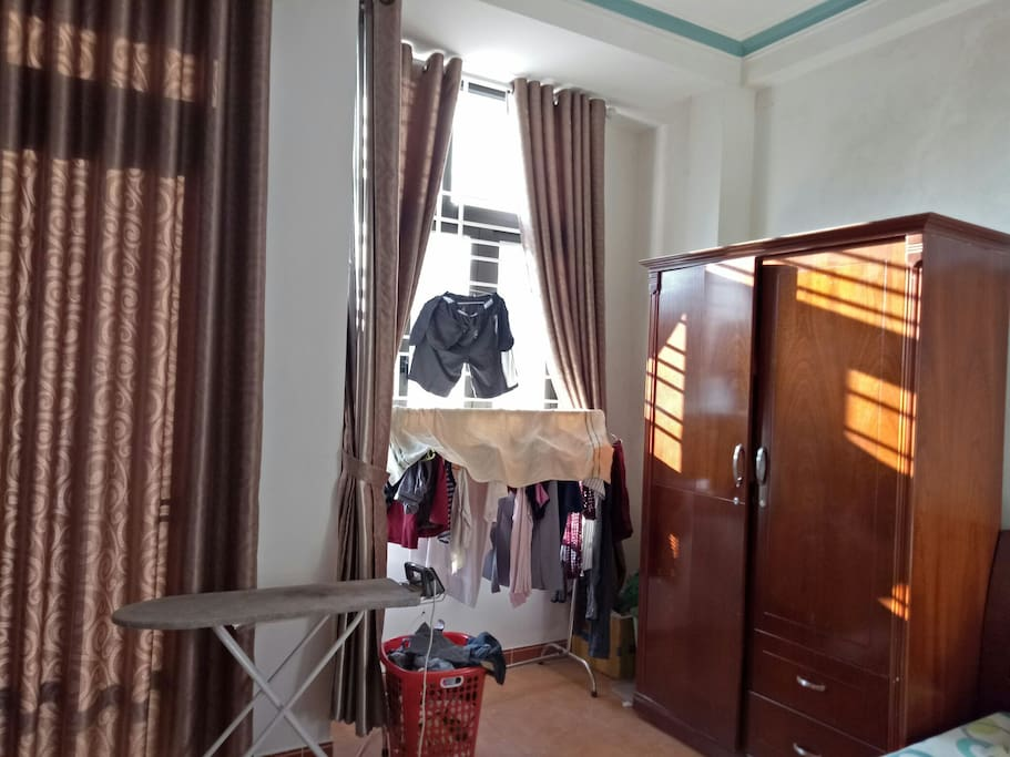 If you worry about your clothes which could be stolen,  you can hang your clothes in the room like this