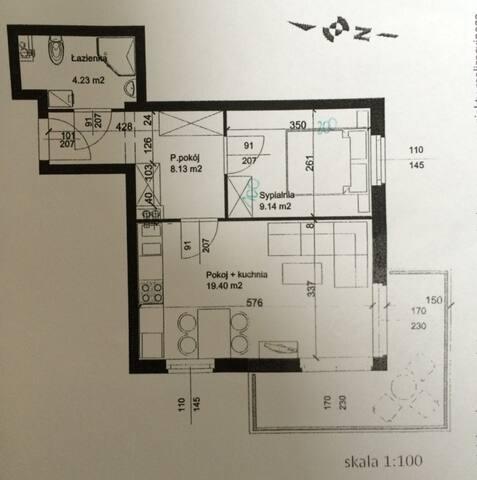 Rzut mieszkania, usytuowanie mebli może odbiegać od rzeczywistości, zdjęcie poglądowe