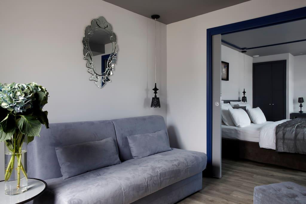 espace salon, canapé lit