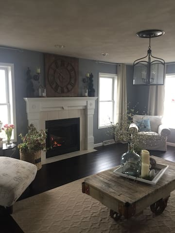 Large comfortable living room to relax in after a long day walking the EAA grounds.
