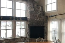 Fire place in each corner of the living room