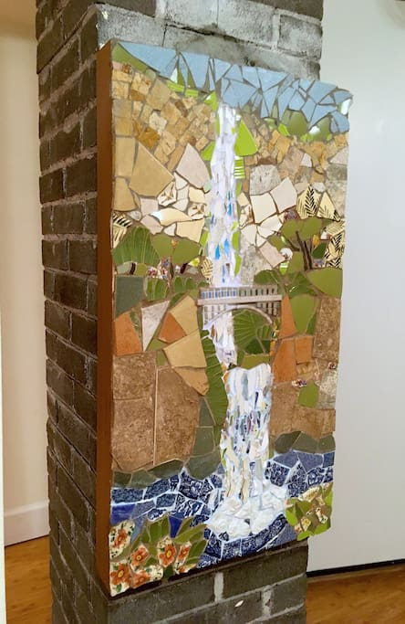 The mosaics and many of the paintings and prints are by your host - Peggy Jackson and available for sale.
