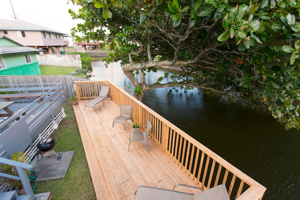 Enjoy the deck that overlooks the waterway.