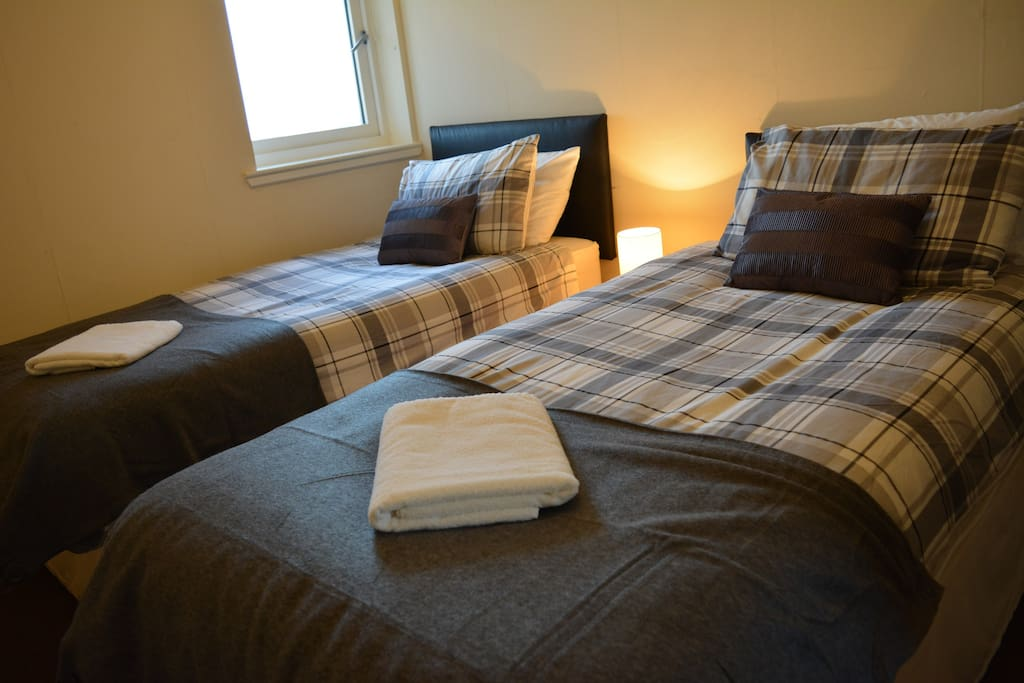 Twin single beds in the bedroom (can be approached together as a double bed)