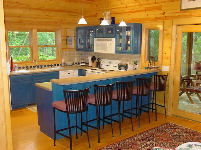This kitchen has what you need and there is a washer/dryer