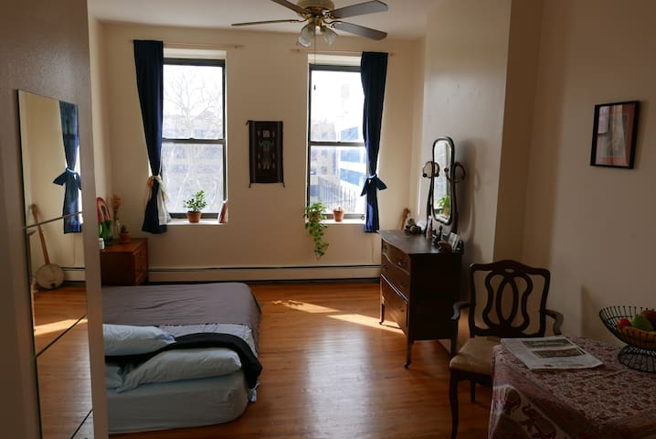 Huge and private sun drenched room in artist apt
