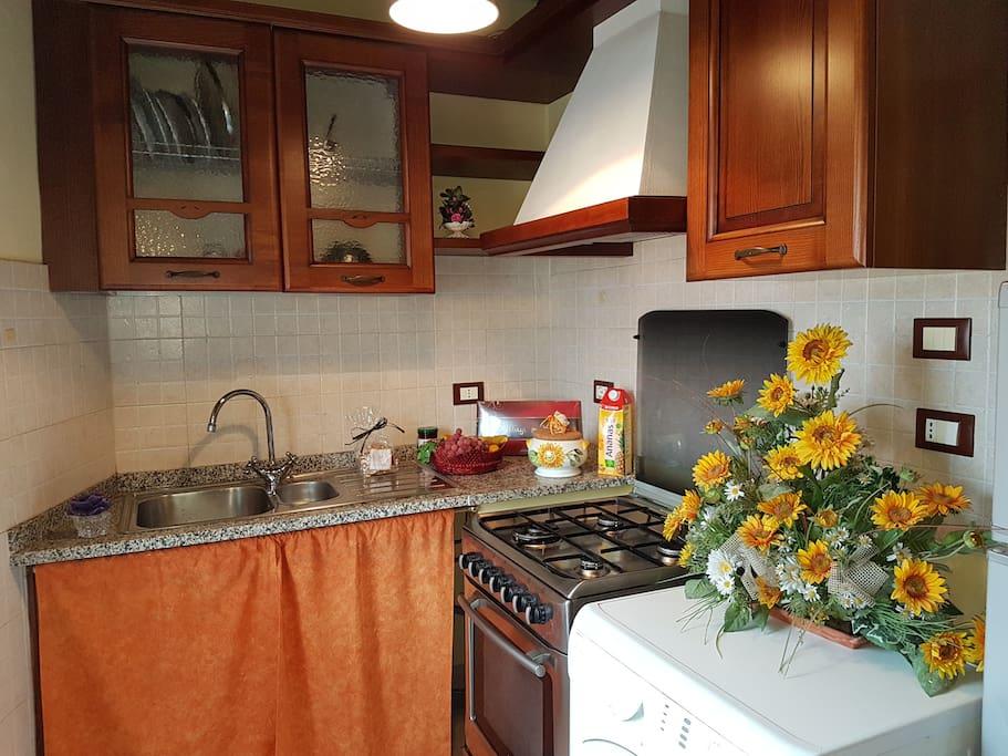 Cucina in legno su misura con acquaio , fornello , forno , frigorifero , più zona lavatrice