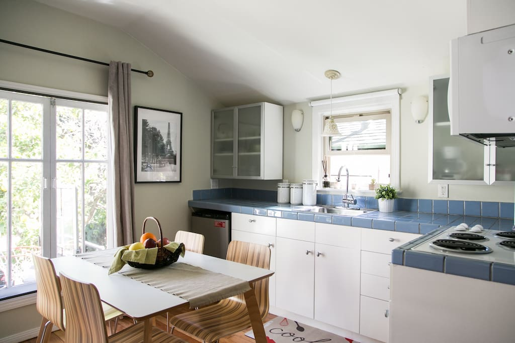 kitchenette & breakfast/work table facing the bay window
