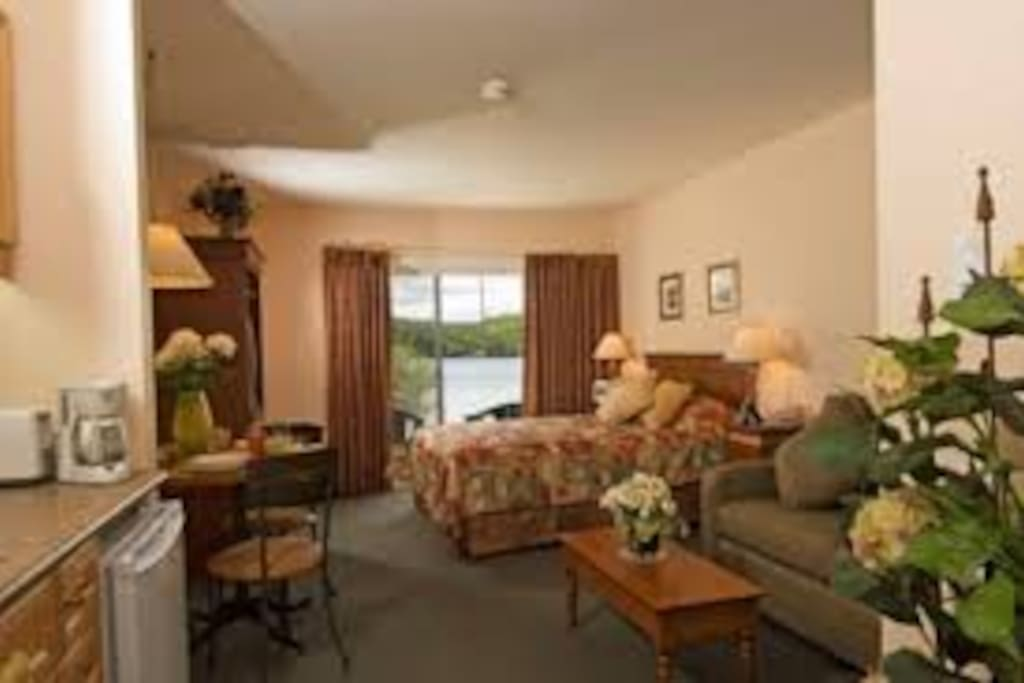Well appointed bachelor suite, with kitchenette, comfortable queen size bed, and pull out sofa (sleeps 4)