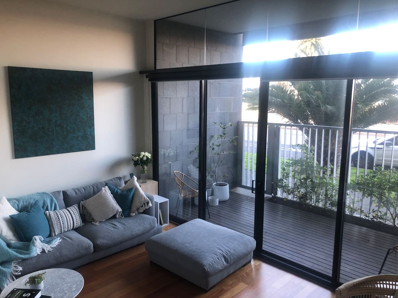 Lounge room with view to Port Melbourne Beach and over Port Phillip Bay