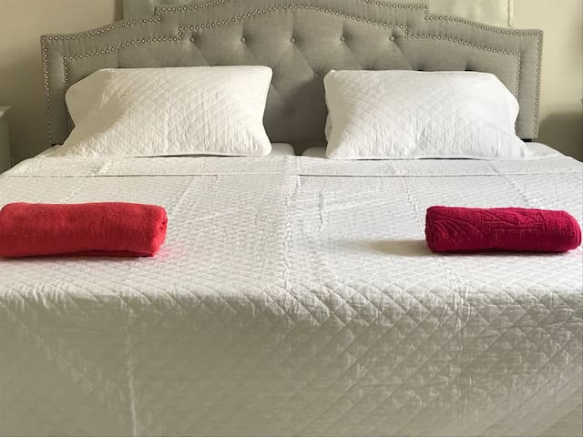 Your kingsize bed with comfortable mattresses. Or we can split it into two twin xl's.