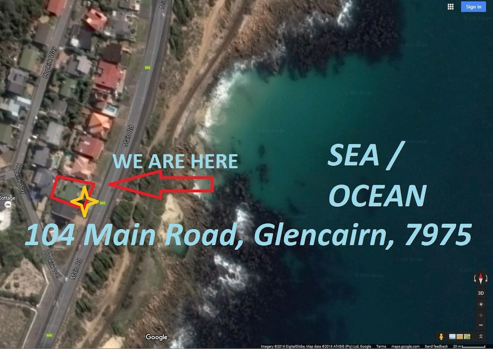 We are here. On the beach road a stone through from the whales, dolphins, and tidal pool.