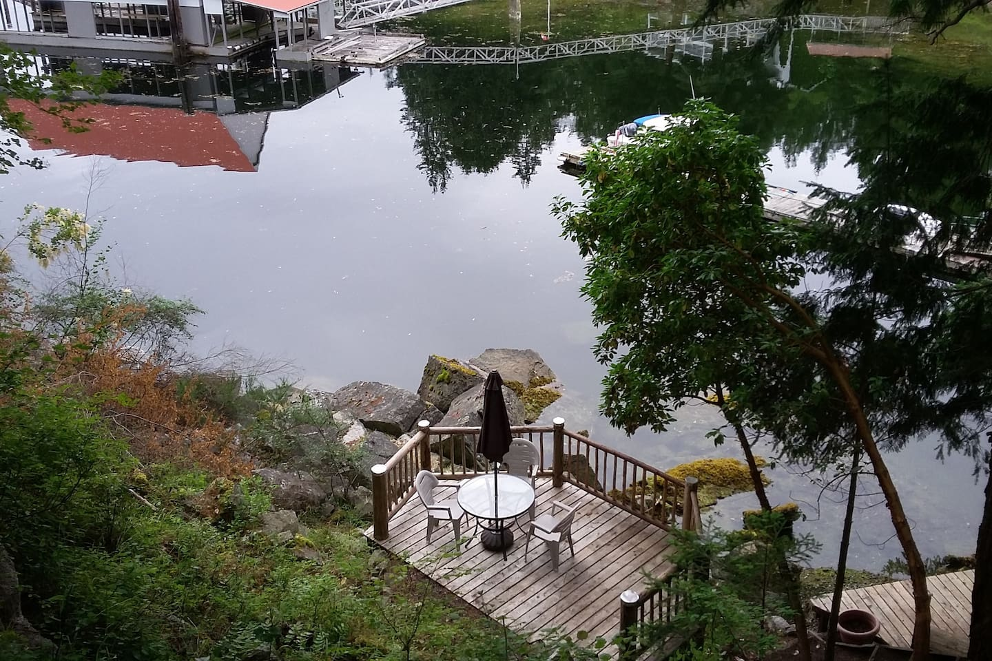 looking down from upper deck. We do not have a dock on our property.
