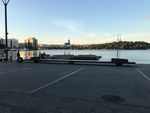 Adjacent to the water and walking distance from the hip Hornstull area on Södermalm.
