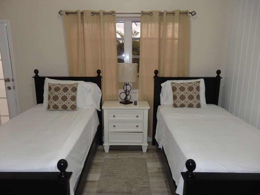 2 single beds can be put together to make a king size upon request.