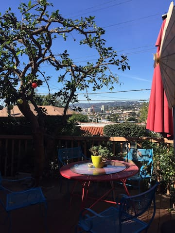 View of Los Feliz and Hollywood from private patio. Outdoor smoking is permitted; ashtrays are provided on the patio.
