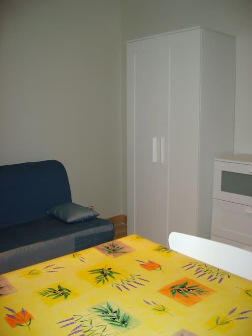 Pièce à vivre - canapé BZ ( lit de 2 personnes ouvert) - penderie - commode