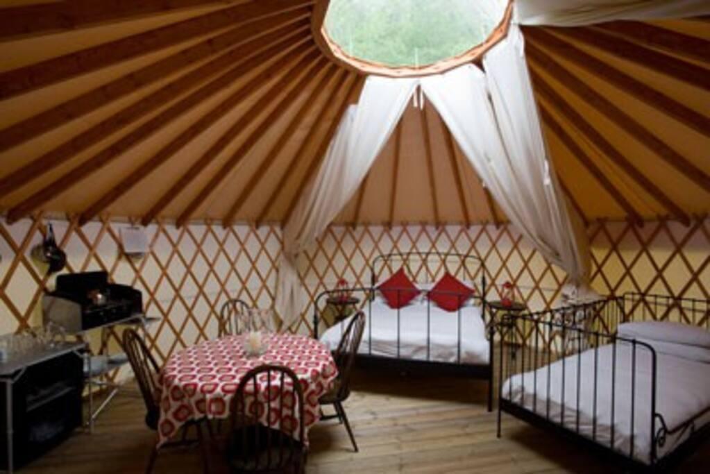 cosy yurt interior