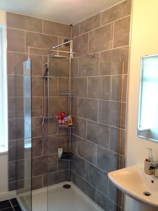 Recently renovated bathroom with a walk in shower