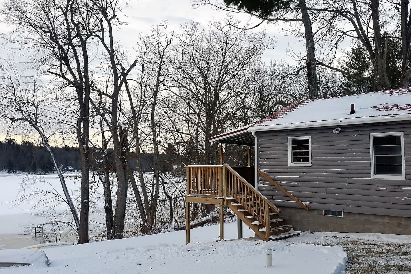 Popular with ice fishermen and snowmobilers, Pleasant Pond offers great winter activities.