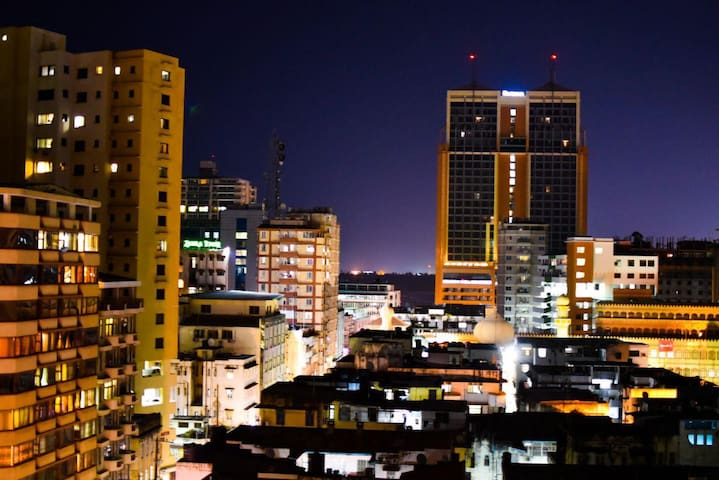 A great night view of the city  of Dar es Salaam.