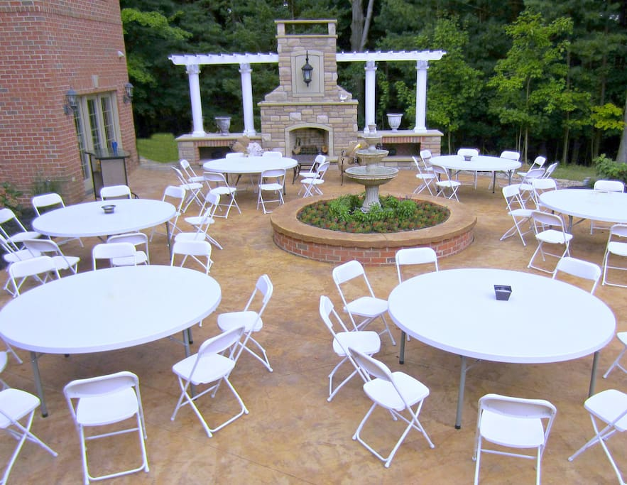 Entertain with owner's tables, chairs, umbrellas & table linens.